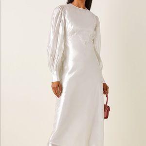 Olivia von Halle Aureta Silk-Lamé Midi Dress S NWT